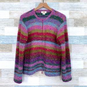 Fuzzy Mohair Striped Cardigan Vintage Talbots